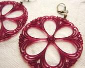 Lace statement earrings, plum purple pink filigree pinwheel cranberry statement earrings