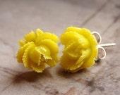 Yellow rose studs, flower post earrings, lemon yellow rose studs, custom color bridesmaid post earrings, wedding party gift