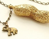 Circus Peanut Necklace, Brass jewelry life size peanut necklace in bronze and elephant charm, gold peanut necklace