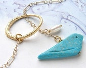 Blue bird lariat, bridesmaid jewelry, happiness blue bird turquoise bird wedding party gift