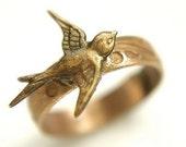 Brass Swallowtail Bird Ring - antique brass bird ring