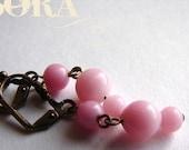 Pink glass drop earrings, vintage pastel pink glass drop earrings, pastel pink