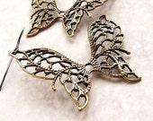 Butterfly Drop Earrings, bridesmaid jewelry, earth tone open lace butterfly earrings rustic bridal party garden wedding