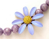 Lavender Daisy Necklace - vintage purple enamel brooch OOAK necklace Spring Easter jewelry lilac yellow daisy floral necklace