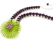 Neon lime purple flower necklace, vintage repurposed OOAK statement necklace celery lilac royal purple floral necklace