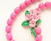 Neon Pink floral Necklace, eco friendly repurposed, vintage brooch vintage Lucite necklace, OOAK emerald green pink statement necklace