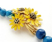 OOAK Vintage Enamel Sunflower Rhinestone Necklace - mustard and teal statement necklace, floral accessories