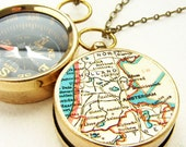 Personalized Map Compass Necklace Personalized Map, Amsterdam custom choose your city map, personalized graduation gifts, Men pocket chain