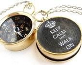 Personalized compass keychain, Keep Calm Walk On, Compass Keep Calm Carry On key chain