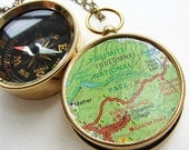 Personalized Map Compass Necklace, personalized gift, Yosemite National Park Map, custom map personalized jewelry, Men pocket chain compass