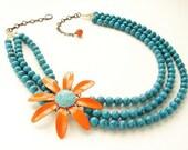 Vintage Tangerine Statement Necklace Enameled Flower Brooch bright orange aqua triple strands turquoise necklace OOAK floral jewelry