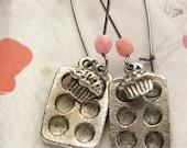 Cupcake drop earrings, baker's cupcake muffin pan earrings, miniature baking jewelry gifts