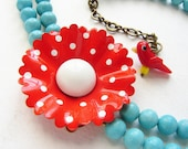 Christmas Red Polka dot Statement Necklace, Vintage red white Brooch, bright red blue turquoise necklace, OOAK flower statement necklace