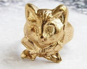 Gold Cat Ring, animal jewelry, animal ring, Kitten Gentleman with bow tie, novelty ring, unisex gold adjustable cat ring