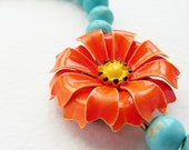 Tangerine  turquoise floral necklace, Vintage bright orange yellow dahlia Brooch Necklace - OOAK bright jewelry