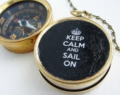 Keep Calm Sail On Compass Custom Compass keychain with Keep Calm Carry On, for him dude under 25 pocket chain keyring