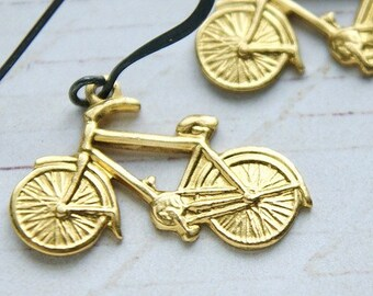 Bike earrings - miniature bicycle earrings, oxidized sterling silver wire