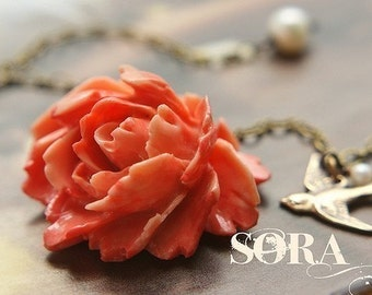 Bridesmaid jewelry, Coral Rose necklace, Bridal jewelry Wedding necklace swallowtail bird deep coral red rose, gift for her