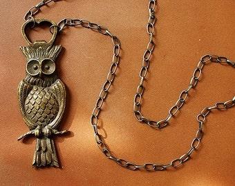 statement necklace Owl Bottle Opener Necklace - bronze owl necklace, bottle opener necklace, long owl statement necklace