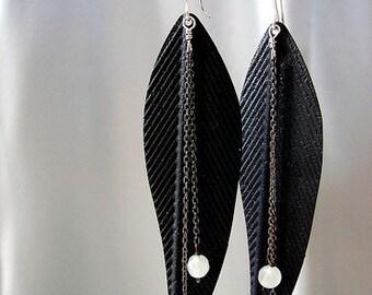 Black Feathers Dangle Earrings, dangle earrings, oxidized sterling silver chain tassel moon stone opal cascade feather earrings