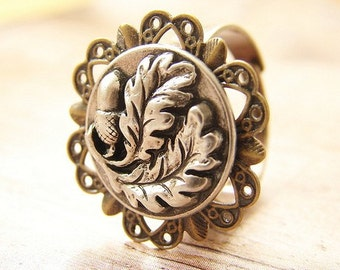 Acorn and Oak Leaf ring, adjustable oak tree acorn ring, metal ring