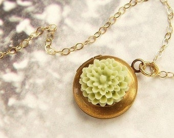 Tiny flower locket Necklace, green tea flower locket charm necklace, moss gardenia locket necklace, 14kt gold filled chain