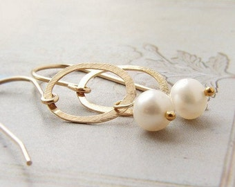 Bridal earrings, Gold circle pearl drop earrings Bridesmaid jewelry simple dainty earrings, Wedding jewelry, gold circle pearl drop earrings