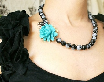 Teal Blue Statement Necklace, bridesmaid jewelry, turquoise Rose necklace black white polka dot feather necklace