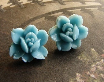 Vintage aqua rose studs, Vintage rose post earrings - rose cameo in seafoam, aqua, sky, mist