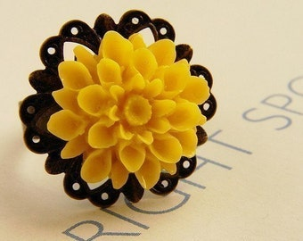 A Bright Spot -gardenia ring sunny yellow flower ring, stocking stuffer, gift for teen girls