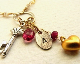 Personalized necklace, custom hand stamped, Initial and birthstone charm necklace, Crimson garnet birthstone,skeleton key charm, heart charm