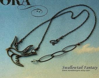 Black bird necklace, swallow bird oxidized sterling silver necklace, sterling silver bird necklace