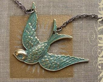 Bird Necklace, metal bird pendant, teal green patina, rustic bird necklace, teal green bird charm necklace