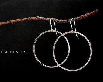 Large Silver Hoop earrings, simple Hoop everyday sterling silver earrings - hammered sterling silver hoops