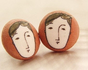 Gemini studs, face portrait post earrings or Cuff Links, brown black earthy dude illustration button studs