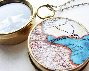 Personalized Map Compass Necklace, Buenos Aires map, Choose Your City Map, custom wedding favors, personalized gifts