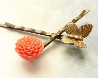 Bridesmaid hair accessories, bridal hair pins, Butterfly Coral Flower Hair Pins, flower butterfly bobby pins, wedding butterfly hair pins