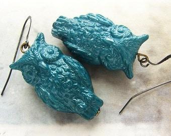 Teal Owl Dangle Earrings, vintage owl drop earrings, teal blue owl earrings