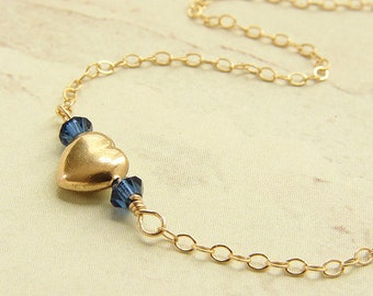 birthstone necklace, Gold Heart Necklace, bridesmaid jewelry, custom Swarovski birthstone necklace