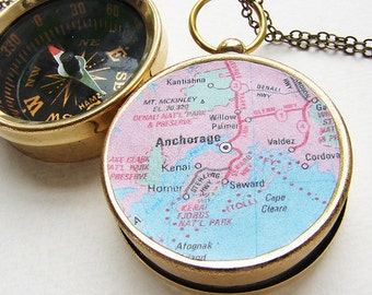 Map Compass Necklace, Personalized gift, Custom jewelry, Anchorage Alaska map, Choose Your City Map Necklace, personalized anniversary gift