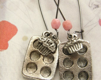 Cupcake drop earrings, baker's cupcake muffin pan earrings, miniature baking jewelry gifts