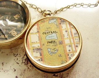 Central Park Map Compass Necklace, Manhattan NYC Central Park map, custom city map, personalized compass, anniversary keychain