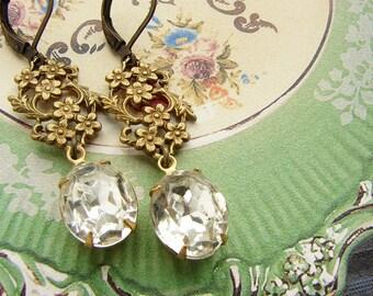 Vintage rhinestone earrings, Victorian filigree oval rhinestone earrings, bridal earrings, bridesmaid jewelry