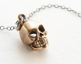 Skull necklace, skull charm necklace, miniature gold skull oxidized sterling silver, tiny skull necklace