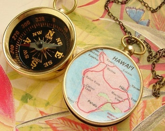 Personalized map gift, Custom map Compass Necklace, Hawaii Big Island Hilo Map, personalized gift