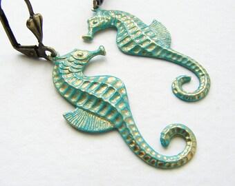 Seahorse earrings seahorse couple aqua teal gold tone seahorse couple earrings metal seahorse dangle earrings