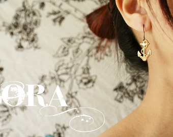 Anchor earrings bronze anchor earrings nautical anchor dangle earrings