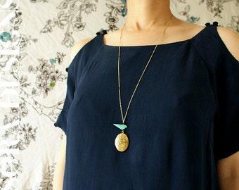 Blue Bird oval locket long necklace, pendant necklace, turquoise blue bird floral locket pendant, vintage bar chain long necklace