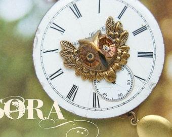 Vintage owl Locket Necklace, vintage watch face, painted owl locket long necklace
