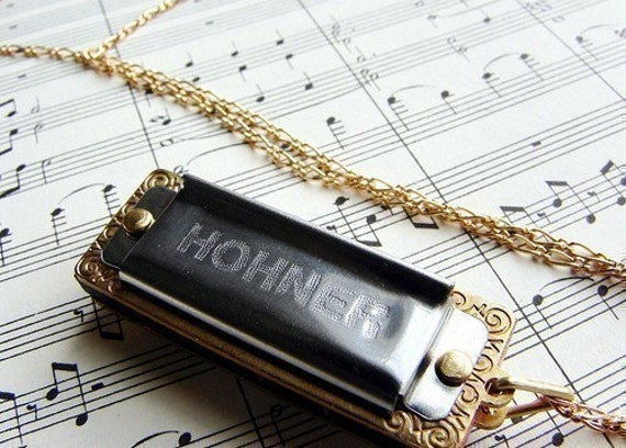 A Song for You - 14kt gold filled chain - Little Lady mini harmonica Germany- a great gift